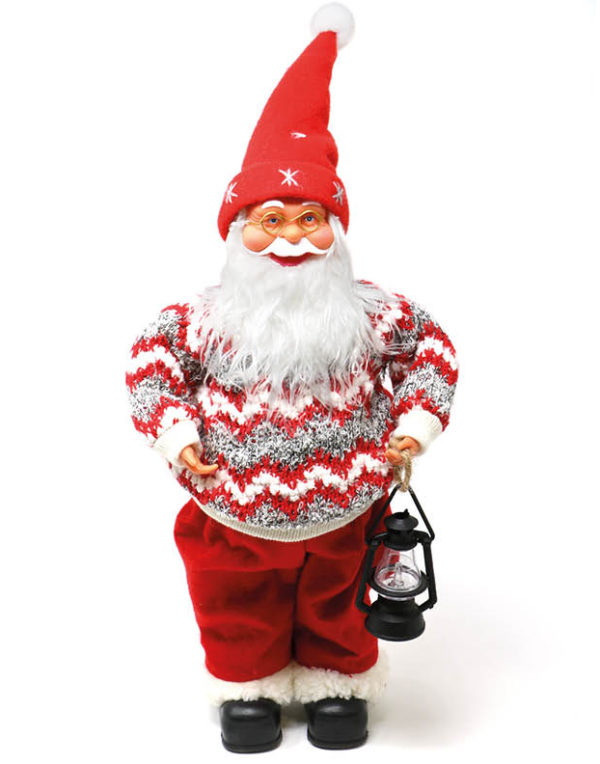 Julenissefigur med Strikket Genser og Lykt 40 cm