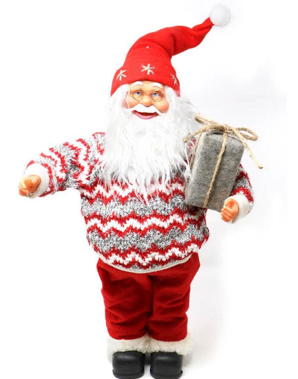 Julenissefigur med Strikket Genser og Presang 50 cm