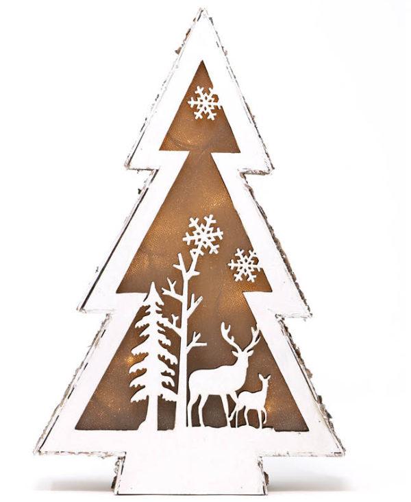 Juletre-Lampe i Treverk med Reinsdyrmotiv 18 cm