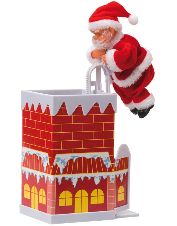 Klatrende Julenisse i Pipa - Dekorasjon med Lyd og Bevegelse 22x12 cm