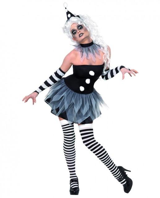Klovn Pierrot Kostyme - S