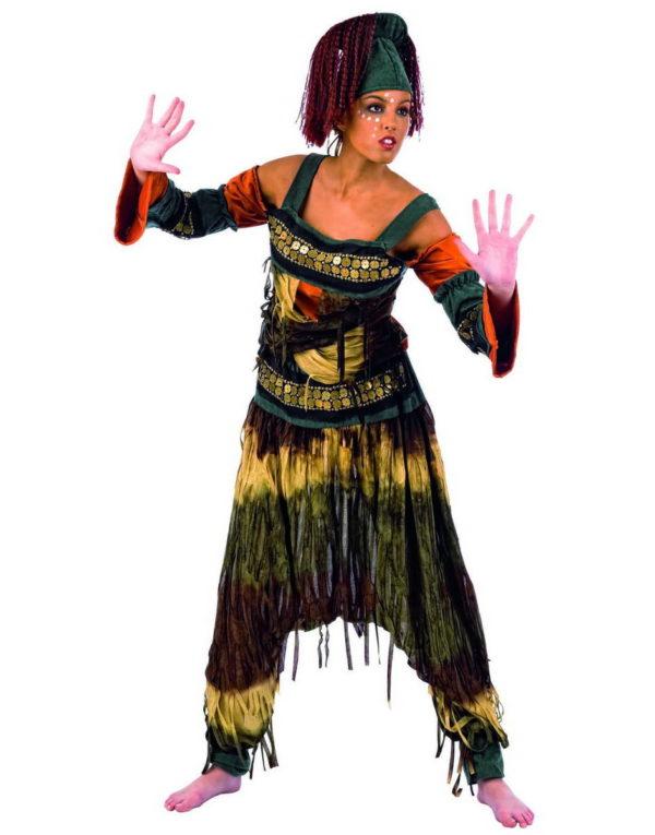 Luksuskostyme av Afrikansk Danser med Parykk