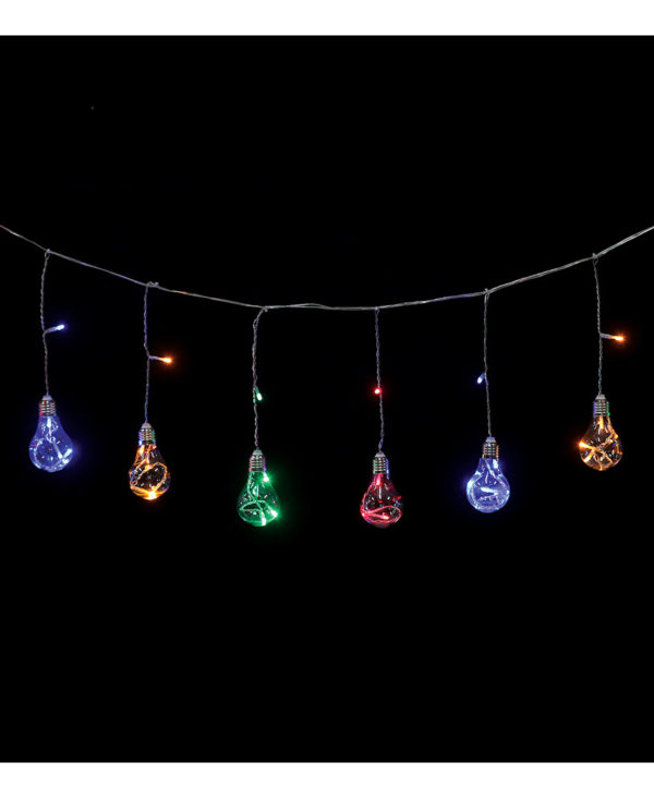 Lysslynge med 8 Flerfarget Lyspæreformet LED-Lys - Innen- og Utendørsbruk 3 meter