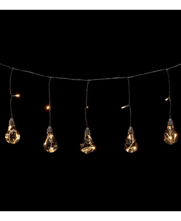 Lysslynge med 8 Varmhvite Lyspæreformet LED-Lys - Innen- og Utendørsbruk 3 meter