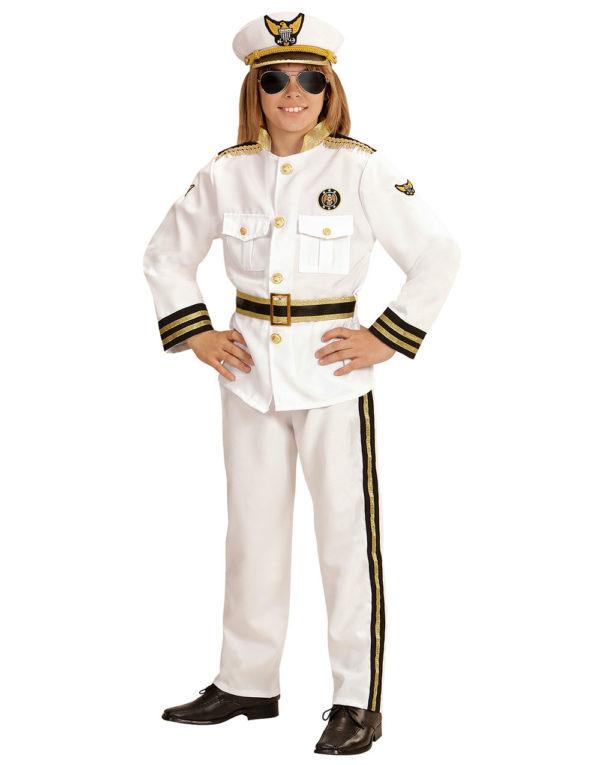 Marine Kaptein Barnekostyme med Hatt