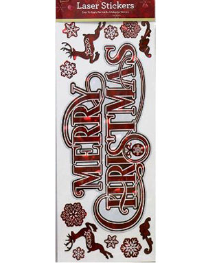 Merry Christmas - 12 stk Vindu- / Veggdekorasjoner 50x20 cm
