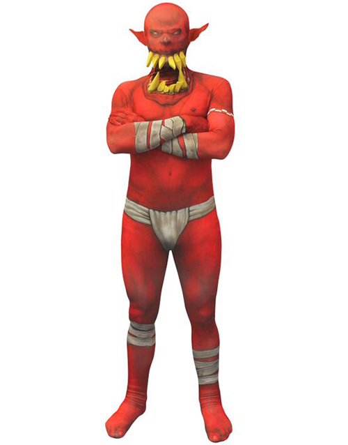 Morphsuit Red Orc Jaw Dropper Kostyme