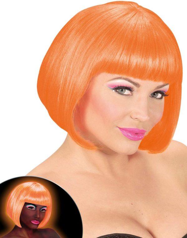 Neon Orange Parykk med Bob Frisyre - Lyser Under UV-Lys