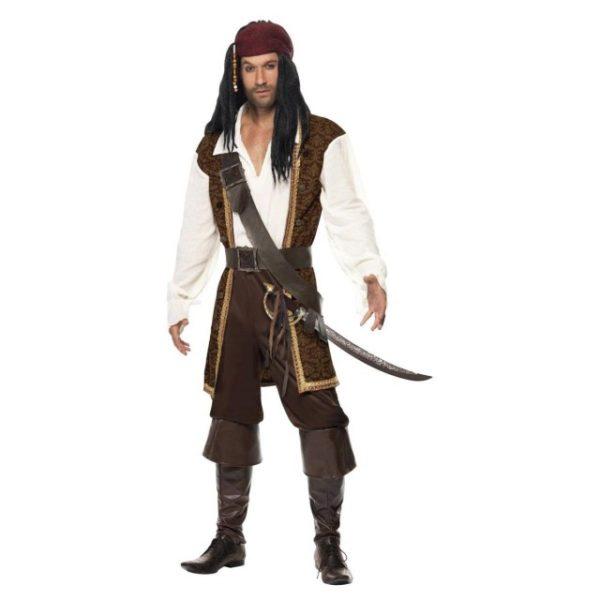 Pirat High Seas Kostyme - M