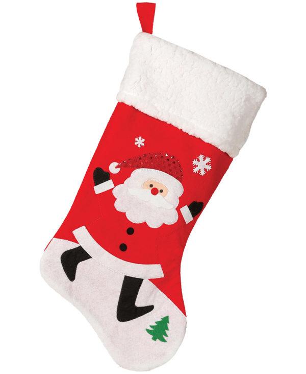 Rød Julestrømpe med Julenissemotiv og Glitter