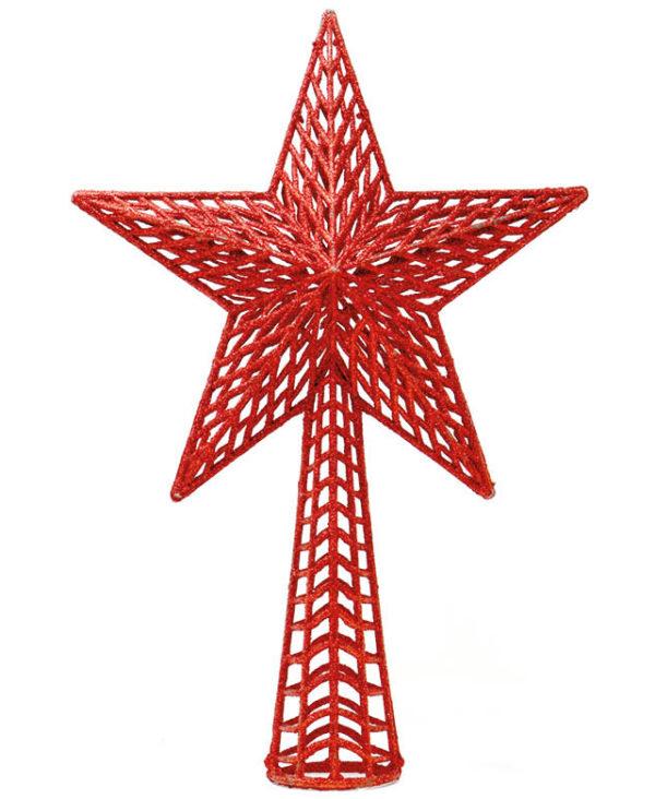 Rød Juletrestjerne med Glitter 27 cm