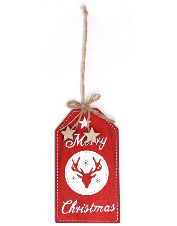 Rød Merry Christmas Tag / Juletrepynt 15 cm