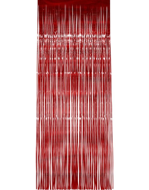 Rød Shimmer Dørforheng 244x91 cm