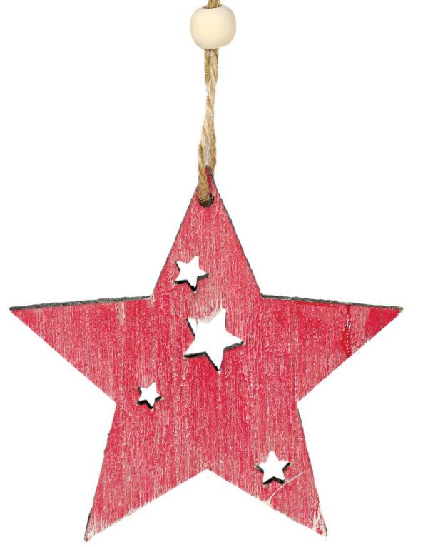 Rød Stjerne i Treverk med Snor