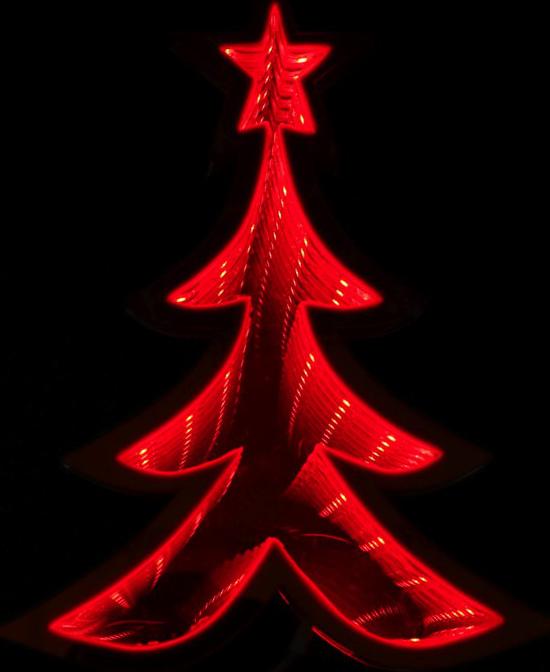 Rødt Juletre LED-Lampe med Infinity-Lys 21 cm