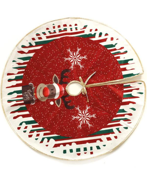 Rødt Juletreteppe med Reinsdyr og Gullfarget Kant