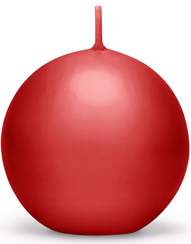Rødt Kuleformet Stearinlys 8 cm