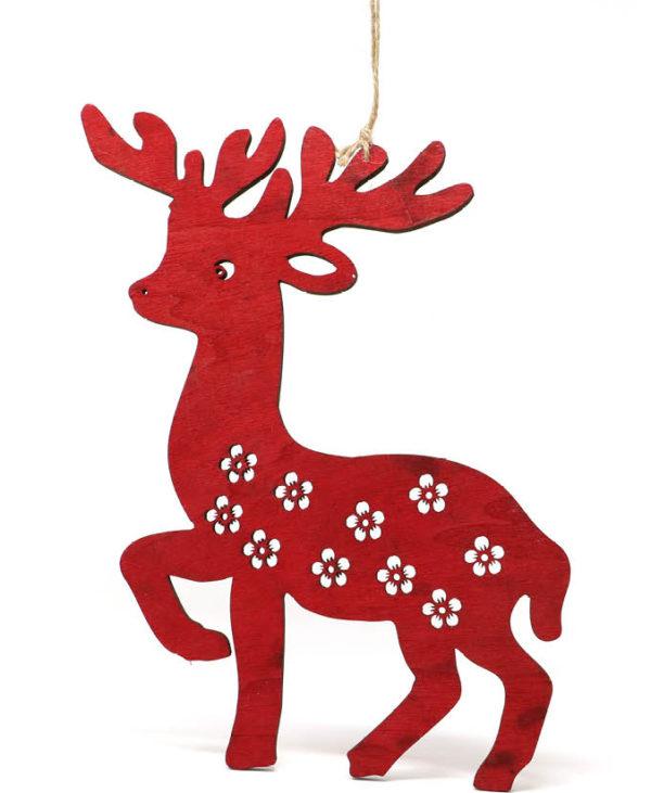 Rødt Reinsdyr i Treverk 20 cm