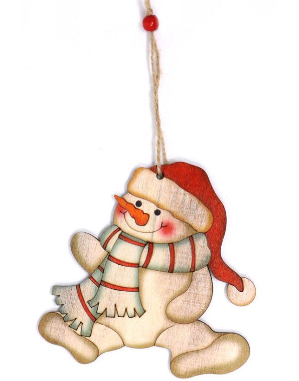 Snømann med Skjerf og Nisselue - 10 cm Juletrepynt