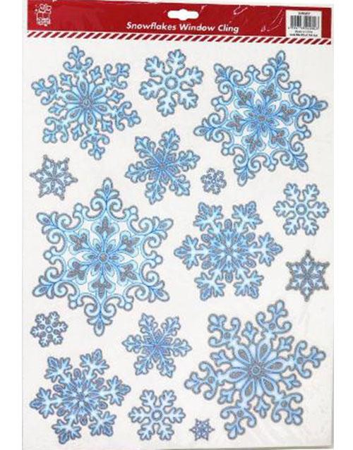 Snowflakes - 16 stk Pene Vindu / Veggdekorasjoner 40x29 cm