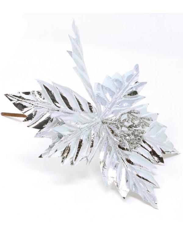 Sølvfarget Juleblomst / Julestjerne Borddekorasjon