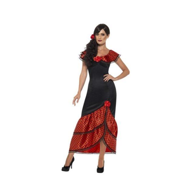 Spansk Flamenco Senorita Kostyme - S