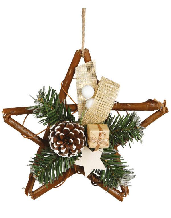 Stjerne med Misteltegn, Grener, Kongle og Presang - 20 cm Juledekorasjon