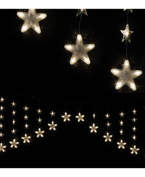 Stjerneformet Lysslynge med 136 Varmhvite LED-Lys og 7 Lysfunksjoner - Innen- og Utendørsbruk 20 meter