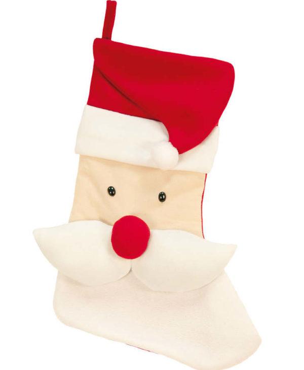 Stor Rød Julestrømpe med Julenisse, Lue og Bart 48 cm