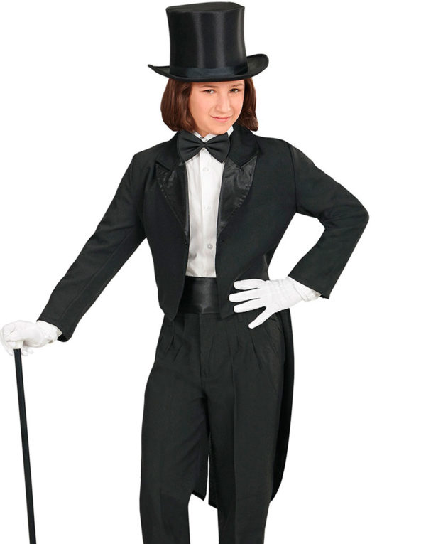 Svart Tailcoat Kostymejakke til Barn