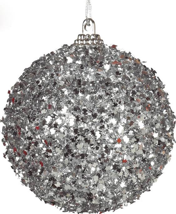 4 stk Julekuler med Sølvfarget Glitter 6 cm