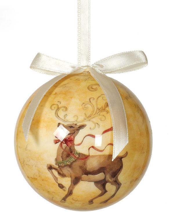 6 stk Beige Julekuler med Reinsdyrmotiv