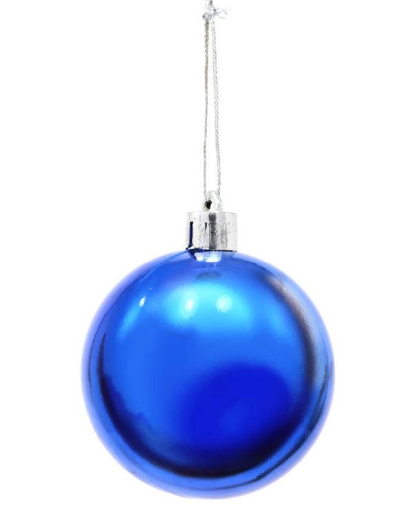 6 stk Metallisk Blå Julekuler