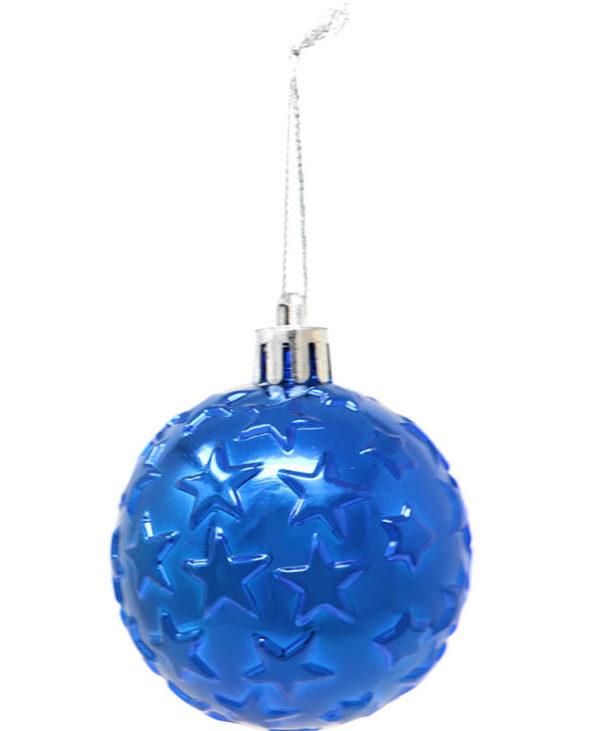6 stk Metallisk Blå Julekuler med Stjerner