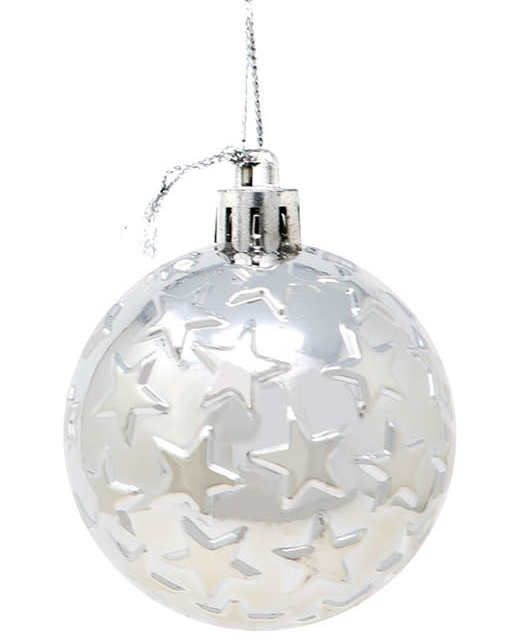 6 stk Metallisk Sølvfarget Julekuler med Stjerner