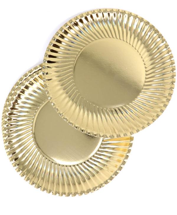 8 stk Metallisk Gullfarget Ekstra Store Papptallerkener 29 cm