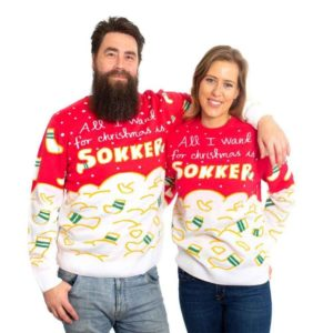 """All I want for Christmas is sokker"" Julegenser XXXL"