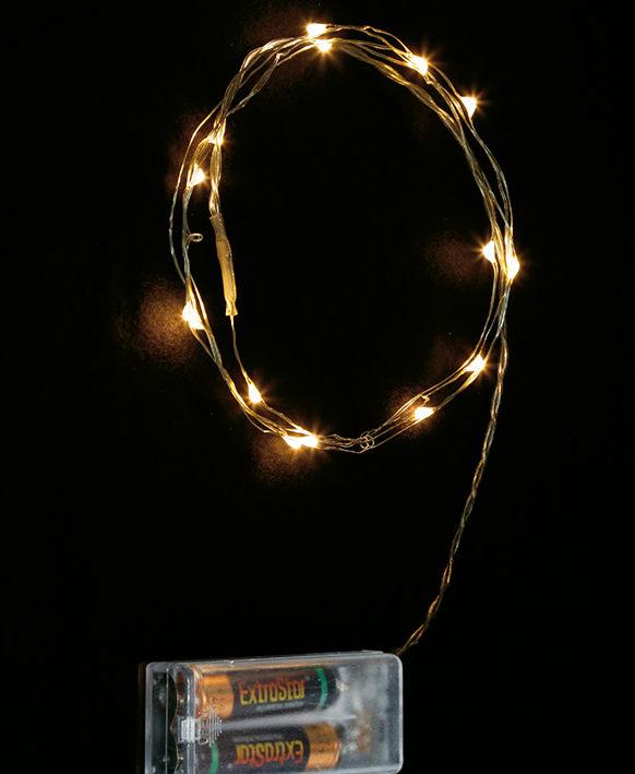 Batteridrevet Lysslynge med 10 Varmhvite LED Lysdeoder - Innendørsbruk 2 meter