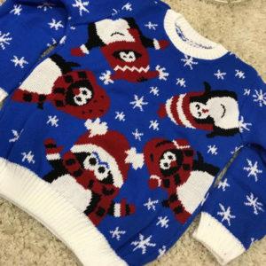 Blå Strikket Julegenser til Barn med Pingvin-Motiv