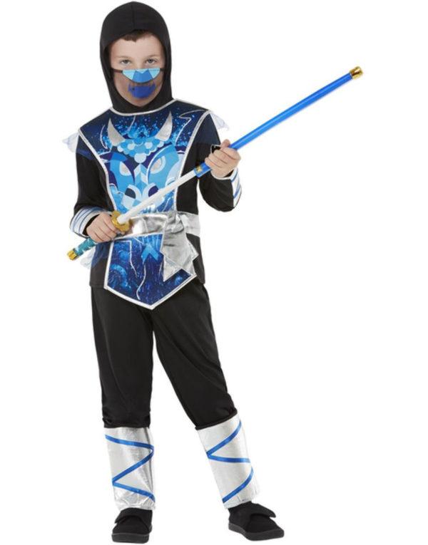 Blått Ninja Barnekostyme med Sverd