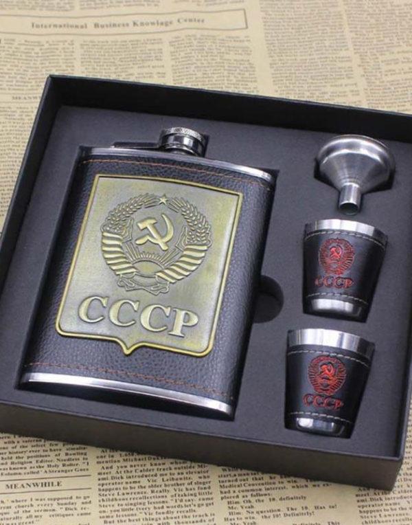 CCCP Tøft Lommelerke Sett med to Shotglass og Trakt