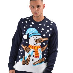 Drunk Snowman - Marineblå Strikket Julegenser med Snømann-Motiv til Mann