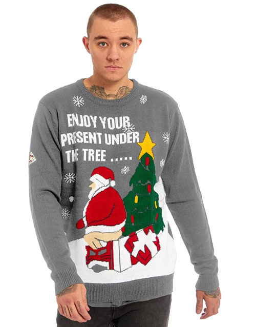 Enjoy your Present - Grå Strikket Julegenser til Mann