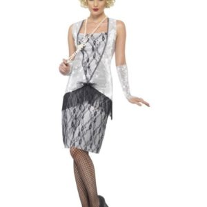 Flapper Kostyme Sølv Dame - L
