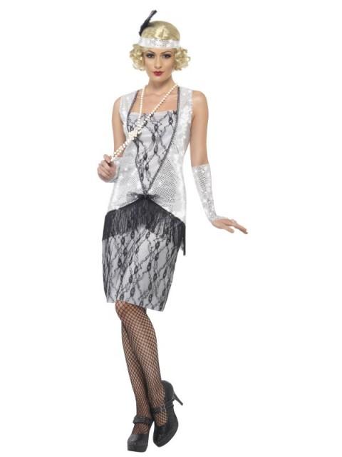 Flapper Kostyme Sølv Dame - S