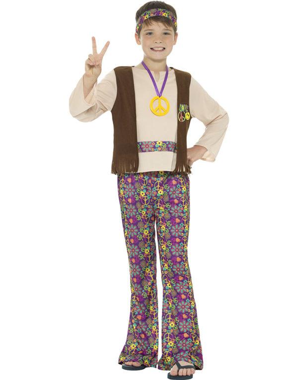 Hippie Barnekostyme til Gutt 4 Deler