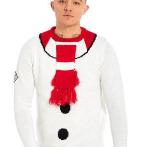 Hvit Strikket Snømann Julegenser med Hengende Skjerf