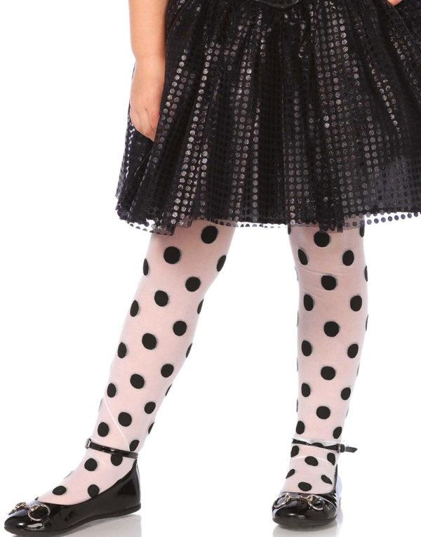 Hvit Strømpebukse med Svarte Polka Dots til Barn