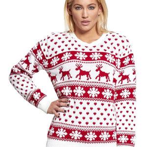 Hvit og Rød Strikket Julegenser med Snøfnugg og Reinsdyr