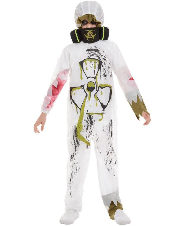 Hvitt Biohazard Hazmat Kostyme med Maske til Barn